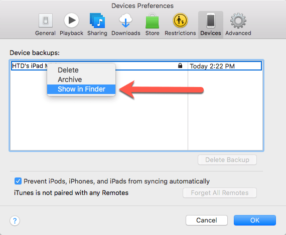 HighTechDad Change iOS Backup Location in iTunes - show in Finder