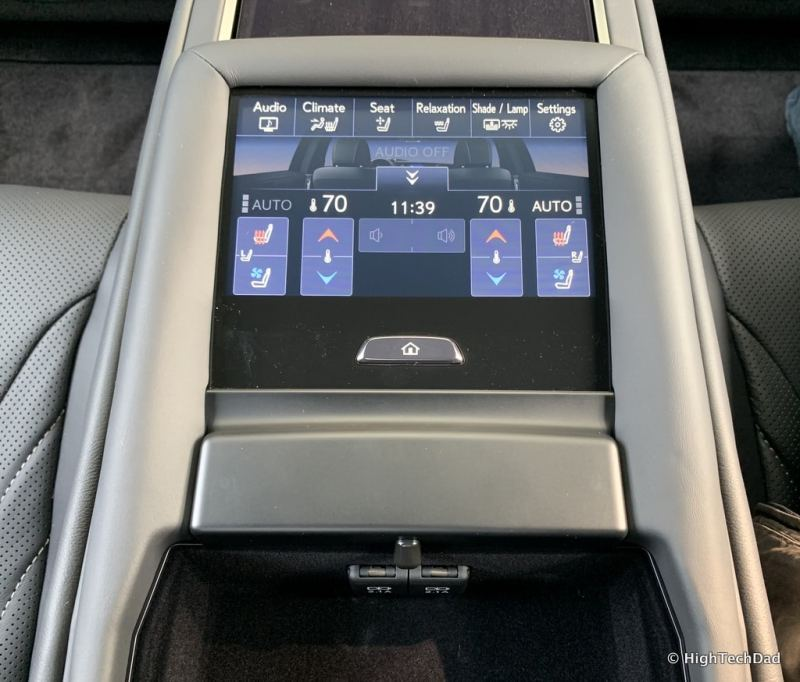 HighTechDad 2019 Lexus LS-500h review - rear seat controls