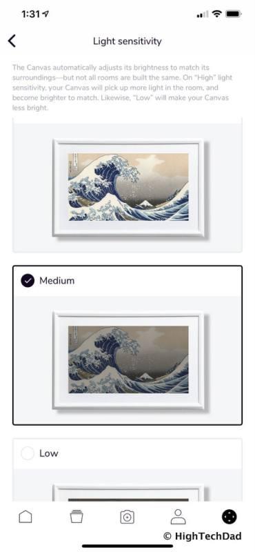 HighTechDad Meural Canvas Review - light sensitivity