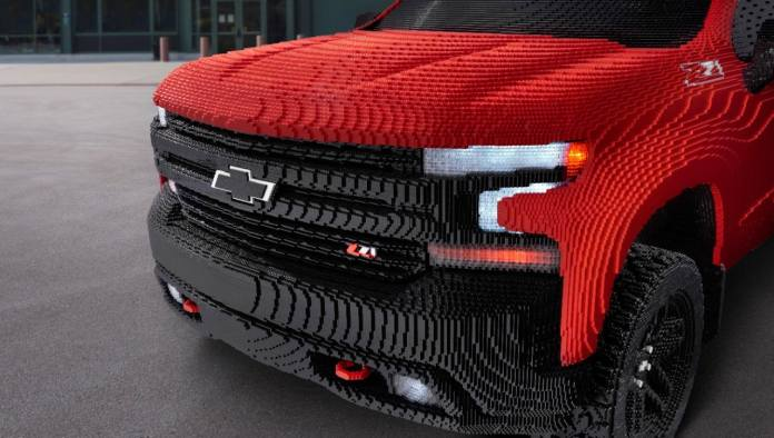 Chevy Silverado LEGO model with 334,544 LEGO pieces - close up of front