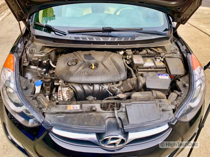 HighTechDad - How To Replace Headlight bulbs on 2013 Hyundai Elantra - open hood