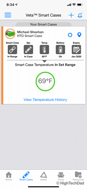 HighTechDad review Aterica Veta Smart Case for EPIPENS - temperature range