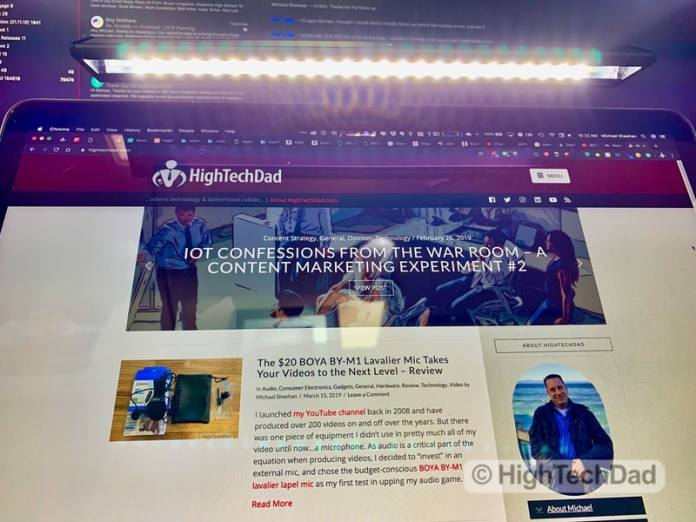 HighTechDad Review of BenQ ScreenBar Lite LED lighting - looking up at LEDs
