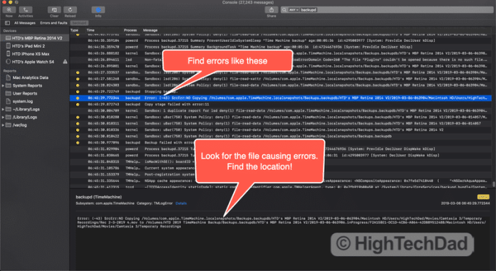 HighTechDad How To Fix Time Machine Errors (Error Type 11) - get the detail of the error