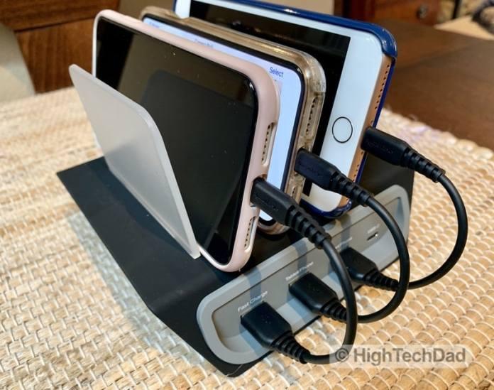 HighTechDad Naztech Power Hub4 power bank review - charging iPhones