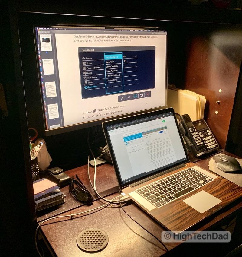 HighTechDad BenQ PD2700U monitor review - hutch at night