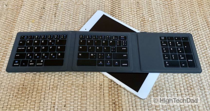 HighTechDad Kanex Foldable Bluetooth Travel Keyboard review - on top of iPad Mini