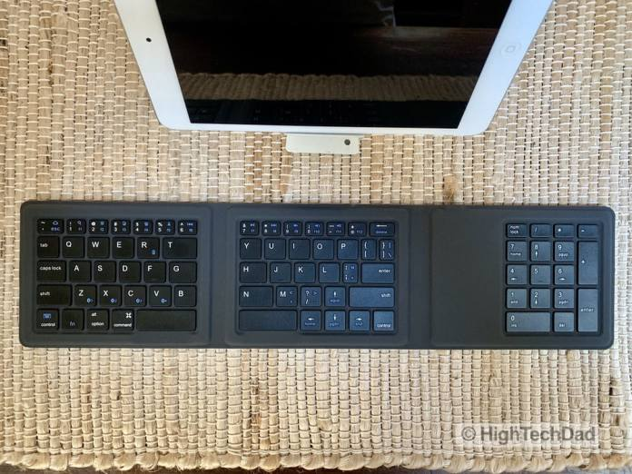 HighTechDad Kanex Foldable Bluetooth Travel Keyboard review - opened with number pad