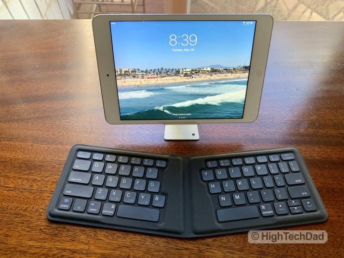 HighTechDad Kanex Foldable Bluetooth Travel Keyboard review - bi-fold version with iPad