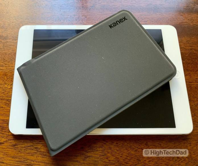 HighTechDad Kanex Foldable Bluetooth Travel Keyboard review - folded on top of iPad Mini