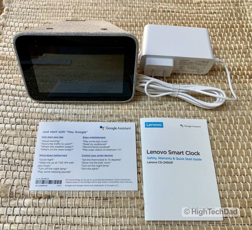 HighTechDad Review of Lenovo Smart Clock - what's in the box