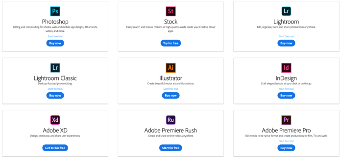 Adobe Creative Cloud - some of the applications