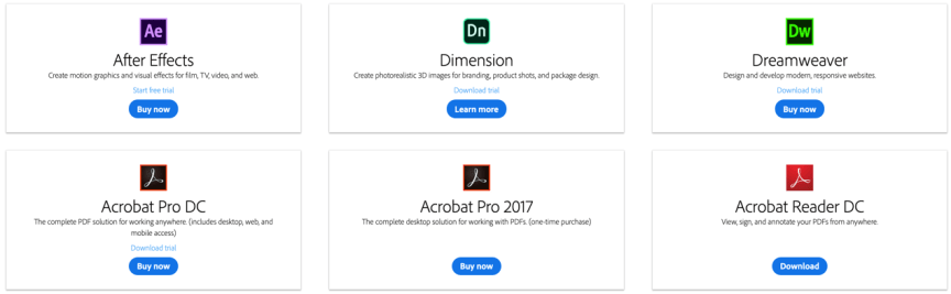 Adobe Creative Cloud - more of the included apps