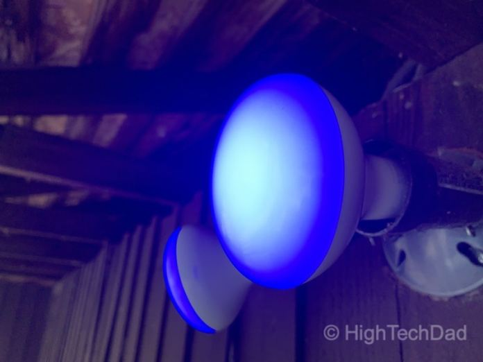 HighTechDad reviews Feit smart, WiFi floodlight bulbs - blue lights