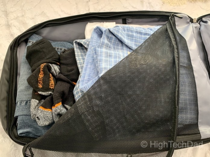 HighTechDad Reviews Nayo Almighty backpack - packed with clothes