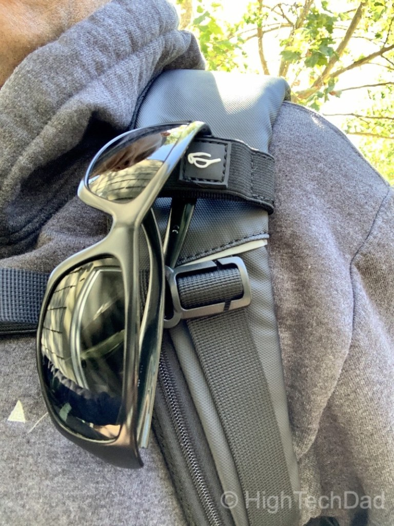 HighTechDad Reviews Nayo Almighty backpack - sunglass holder