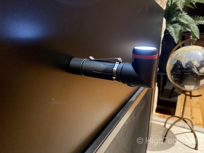 HighTechDad reviews KeySmart NanoTorch Twist LED flashlight - swivel the lens while using magnetic base