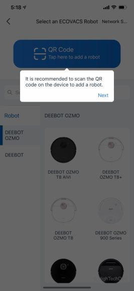 Connecting the Ecovacs Deebot T5