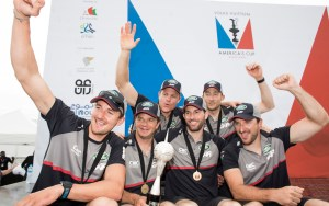 2016 Louis Vuitton Americas Cup World Series. LandRover BAR skippered by Ben Ainslie (GBR) shown here celebrating after winning the first event of 2016 (Photo by Lloyd Images)