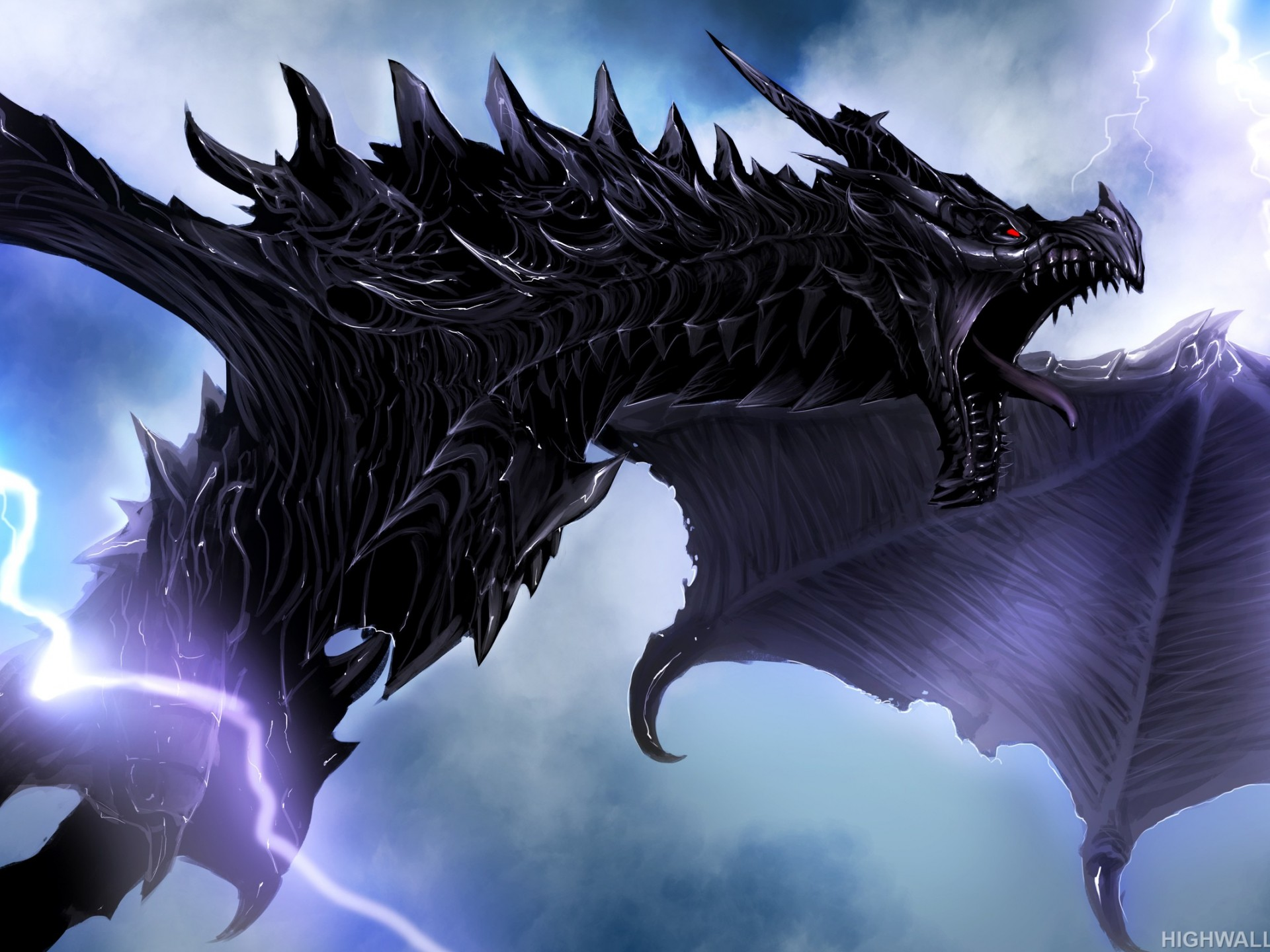 Dragon Wallpaper Iphone X Dragon And Lightning Hd Wallpaper
