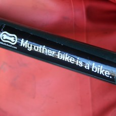 Top tube sticker on Zack's Surly who is riding from Vancouver to San Diego with his friend Nick.