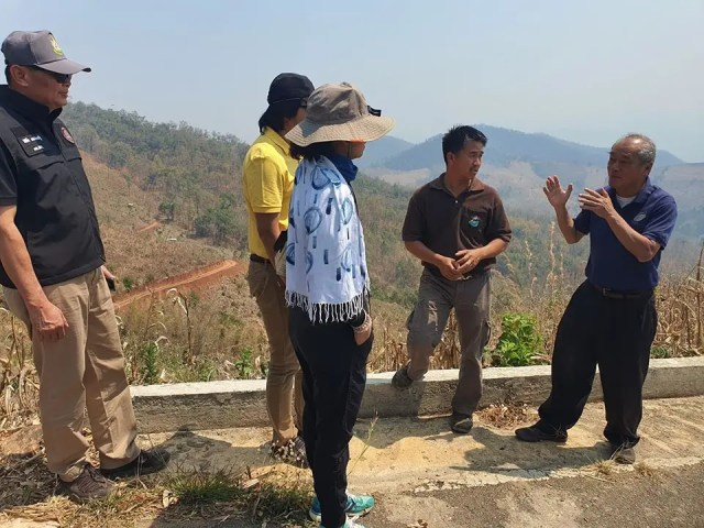 Dr. Royol Chitradon and HII's Board of Directors monitored community water resource management for bald mountain and drought preparation by agroforestry at Chiang Mai province