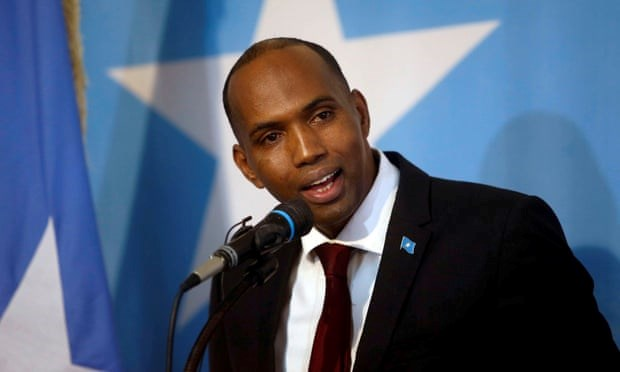 Khaire, 52, was a newcomer to the political scene when he became prime minister, having previously held the post of director of the Africa department of the British oil company Soma Oil and Gas. Photograph: Feisal Omar/Reuters