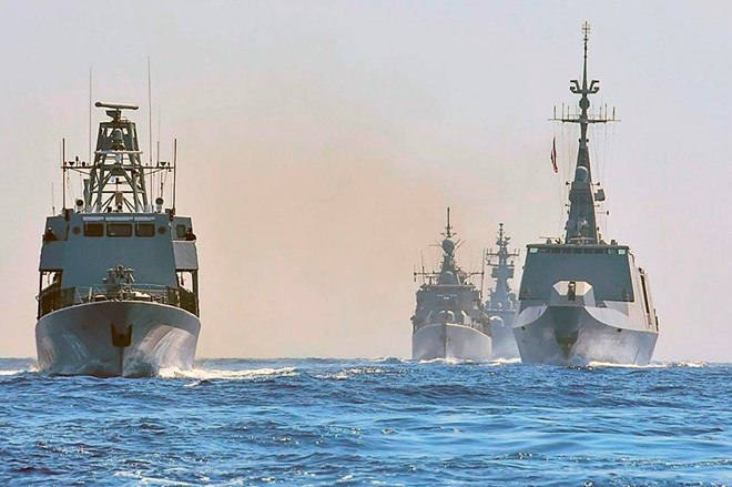 In this photo provided on Aug. 31, 2020, by the Greek Defense Ministry, worships from Greece, Italy, Cyprus and France participate in a joint military exercise in the Eastern Mediterranean.THE ASSOCIATED PRESS