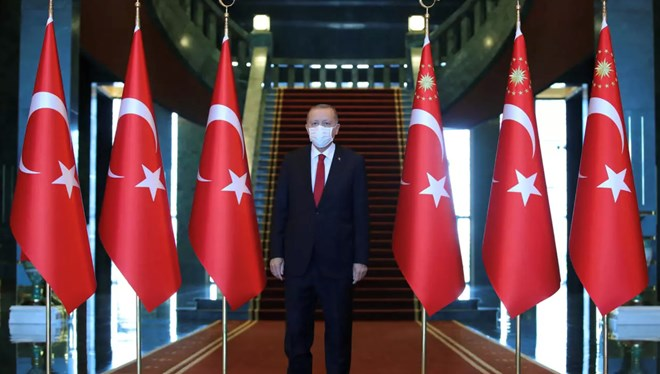 Turkish President Tayyip Erdogan attends a ceremony marking the 98th anniversary of Victory Day at the Presidential Palace in Ankara, Turkey, August 30, 2020. © Turkish Presidential Press Office, Reuters