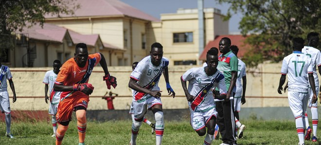 South Sudan Under-23 A and B football teams battled it out in a fierce competition for supremacy while also sharing messages of peace and unity with fans during a match in the capital, Juba, in 2019 (file photo).UNMISS/Flickr