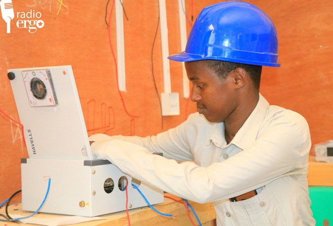 Najib Mohamud Salaad, 20, started his own electrical business in Qardho after acquiring skills at the local technical training centre/Mohamud Nafiif/Ergo