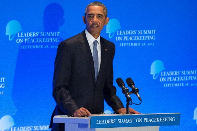 US President Barack Obama delivers remarks during a Peacekeeping Summit to coincide with the United Nations General Assembly on September 28, 2015 (AFP Photo/Andrew Kelly)