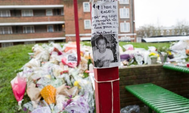 A floral tribute to knife victim Sadiq Adan Mohamed on the Peckwater estate in Camden, London. Photograph: Andy Hall for the Observer
