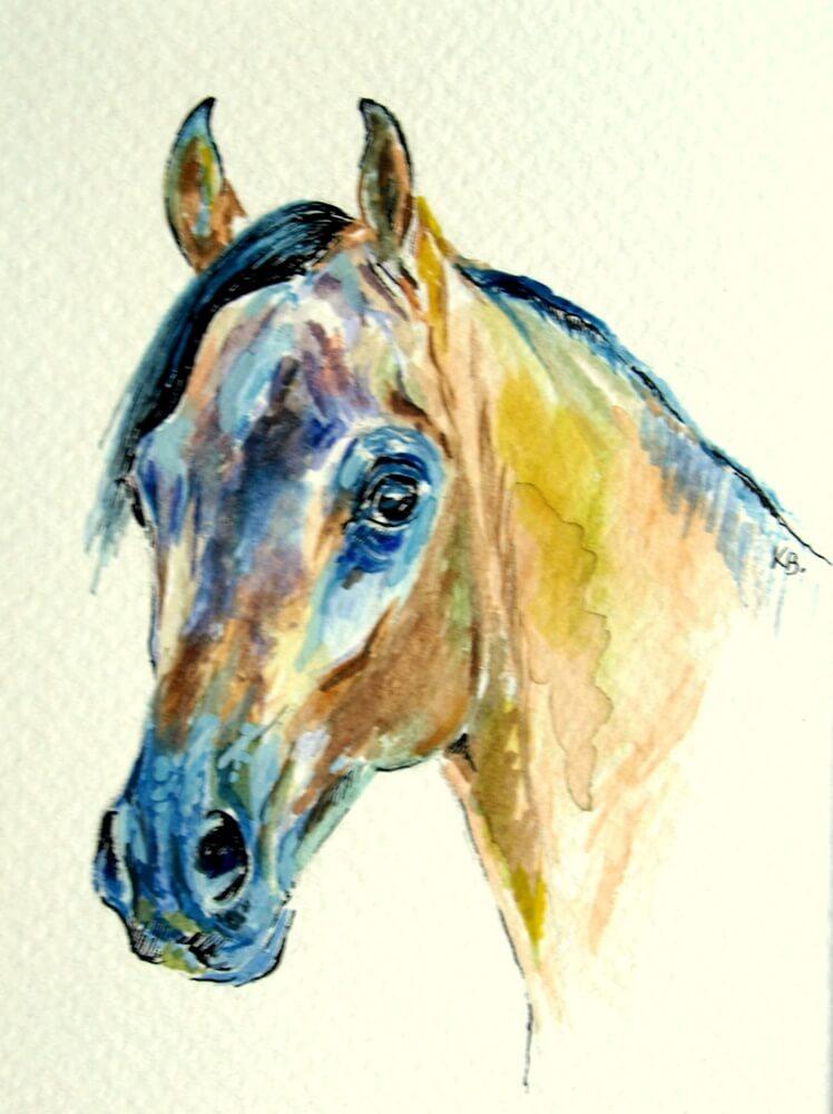 Obraz autorstwa Kingi Bec przedstawiający portret gniadego konia rasy czystej krwi arabskiej.