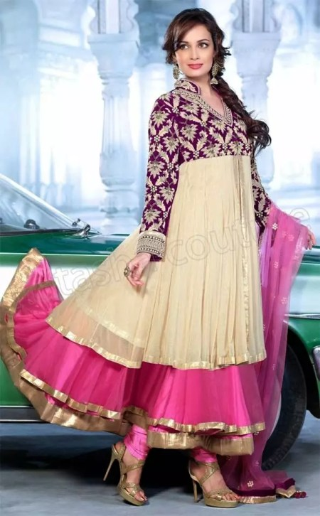 fancy party wear frock suits-diya-mirza-suits-2016-2017