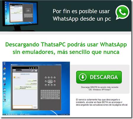 El timo del WhatsApp para PC en Facebook
