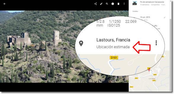 Qué es la ubicación estimada en las fotos de Google Fotos