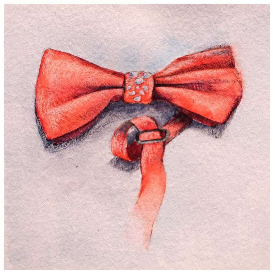 Red bow tie with sparkles. Watercolour and pencil drawing