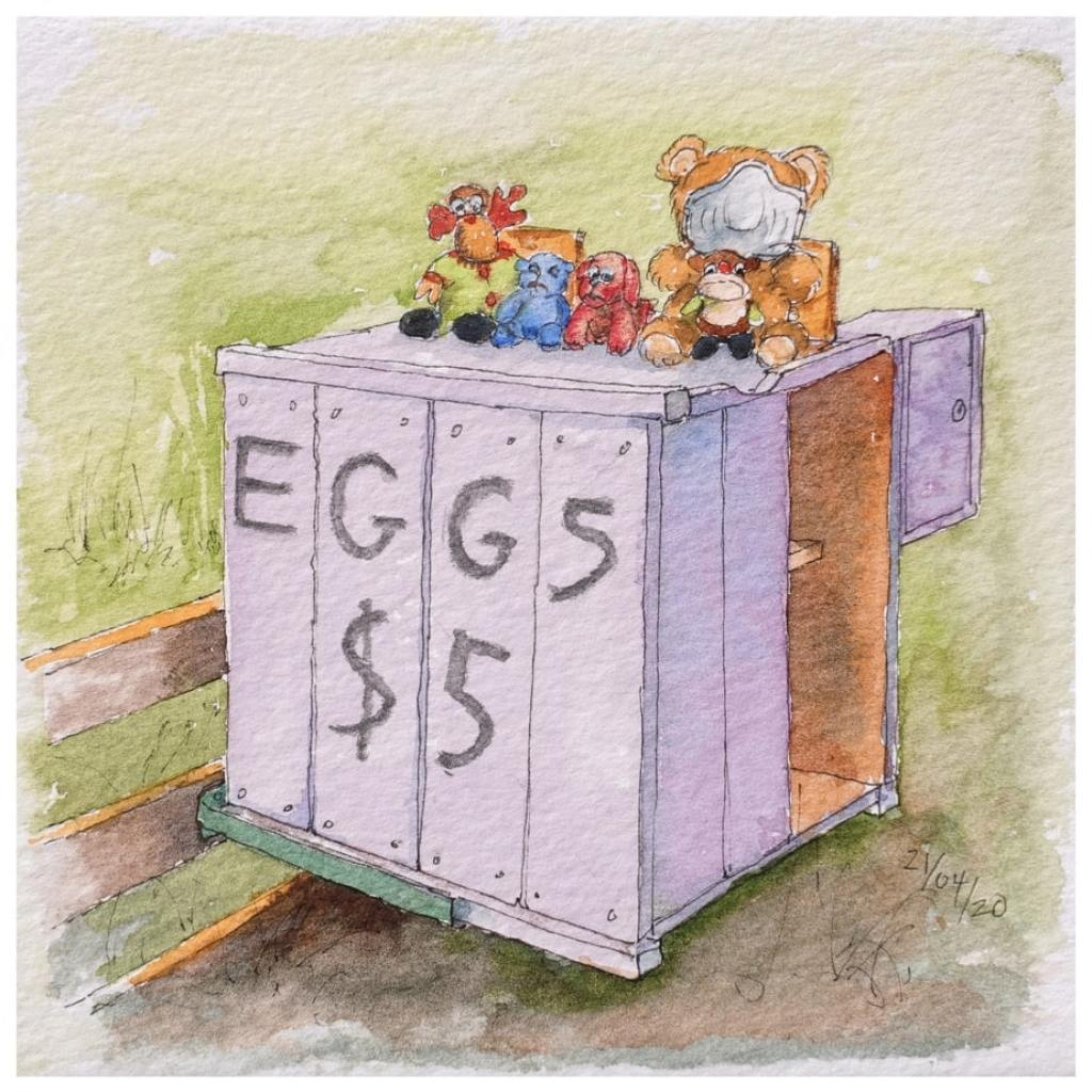 Teddy bears on a box for selling eggs. Watercolour sketch.