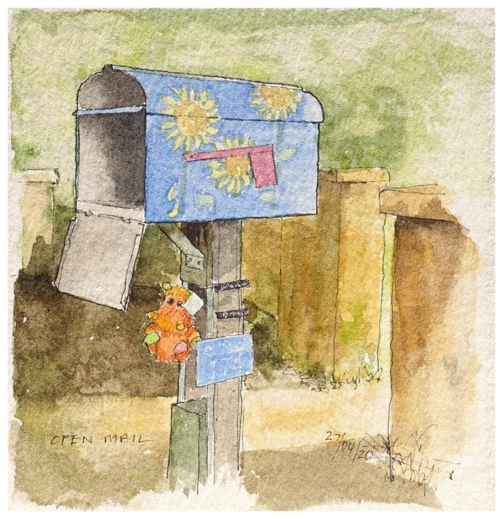 Open mailbox with sunflowers painted on it. Watercolour sketch