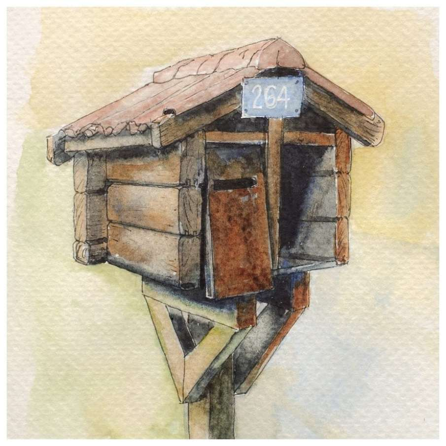 Wooden mailbox. Watercolour sketch