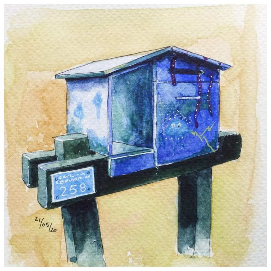 Mailbox painted in marine colours. Watercolour sketch