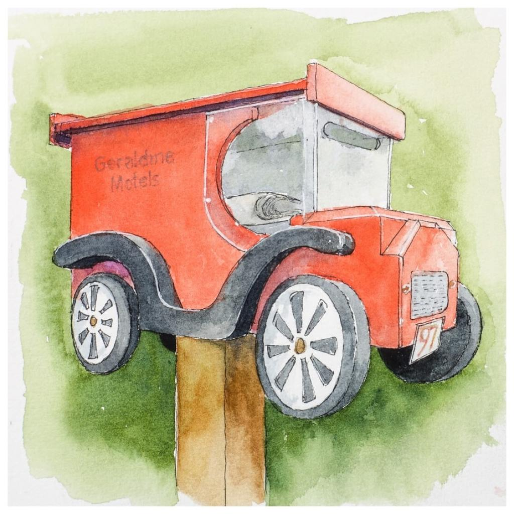 Van Mail. Mailbox in the shape of a red van. Watercolour sketch