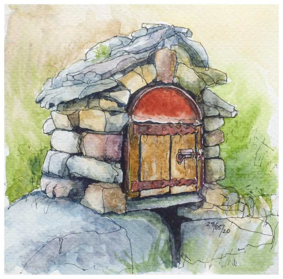 Drystone built mailbox. Watercolour sketch