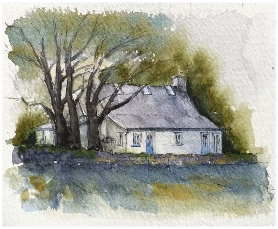 Cottage under trees - watercolour sketch