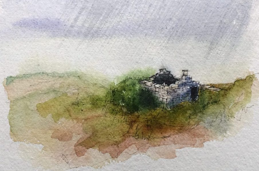 Ruined stone building - watercolour sketch