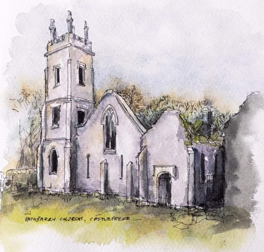 Castle Freke Church - Watercolour sketch