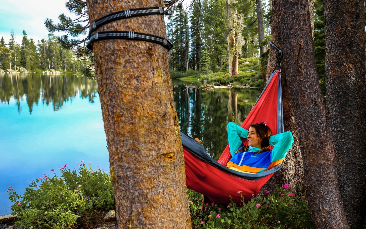 a lakefront hammock at the best lake tahoe campsite