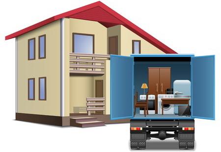 アパートと引っ越し業者のトラックのイメージ