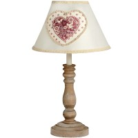 Small Wooden Lamp With Heart Fabric Shade